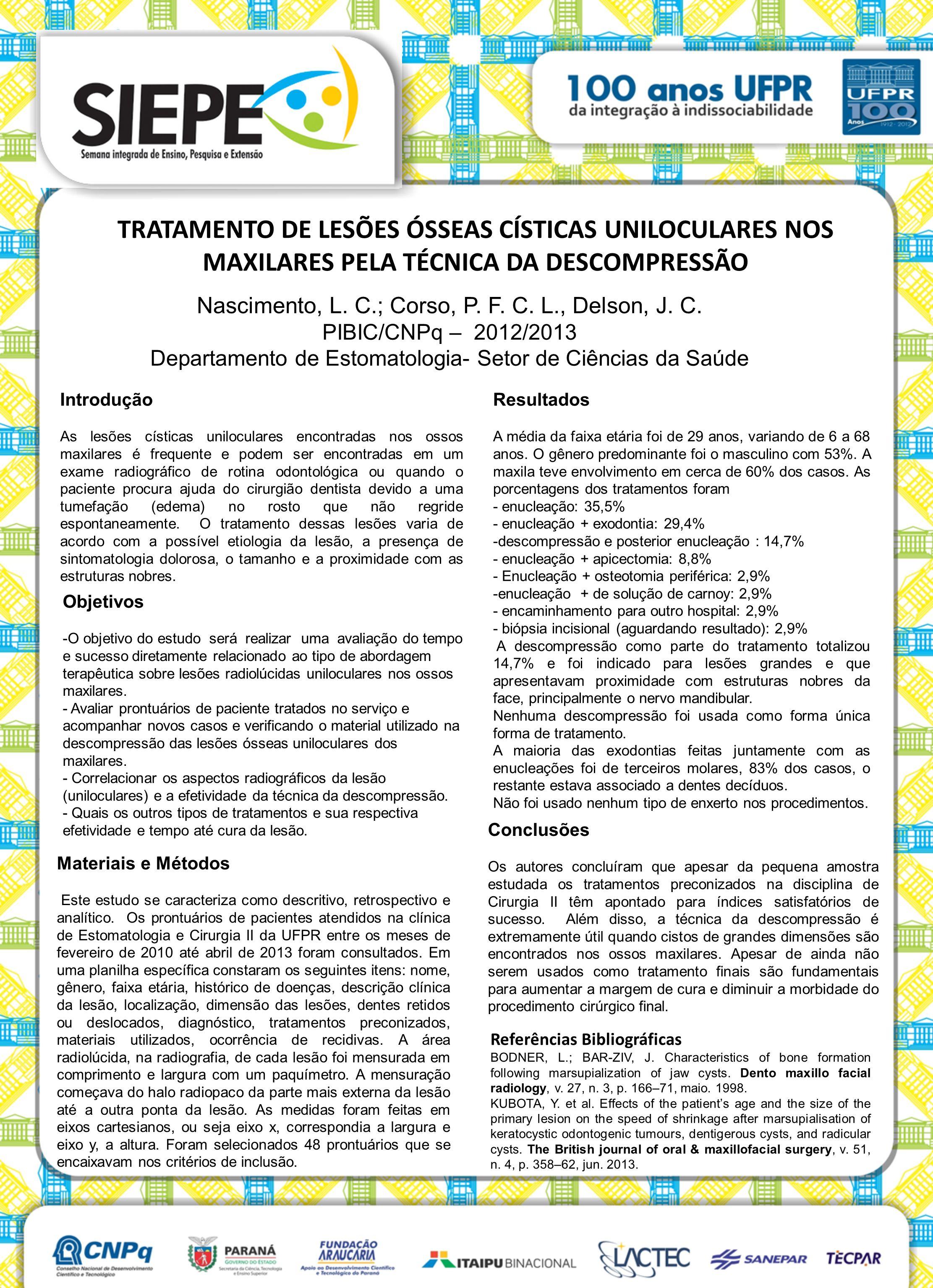 TRATAMENTO DE LESÕES ÓSSEAS CÍSTICAS UNILOCULARES NOS MAXILARES PELA TÉCNICA DA DESCOMPRESSÃO Nascimento, L. C.; Corso, P. F. C. L., Delson, J. C. PIB