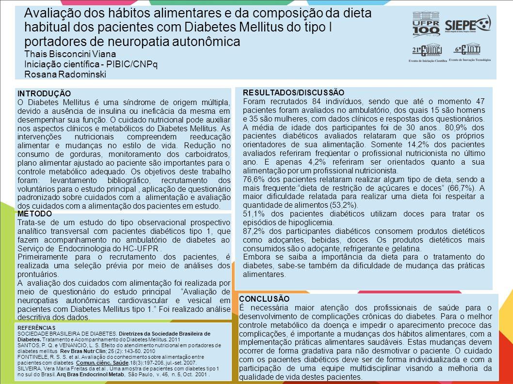 Avaliação dos hábitos alimentares e da composição da dieta habitual dos pacientes com Diabetes Mellitus do tipo I portadores de neuropatia autonômica