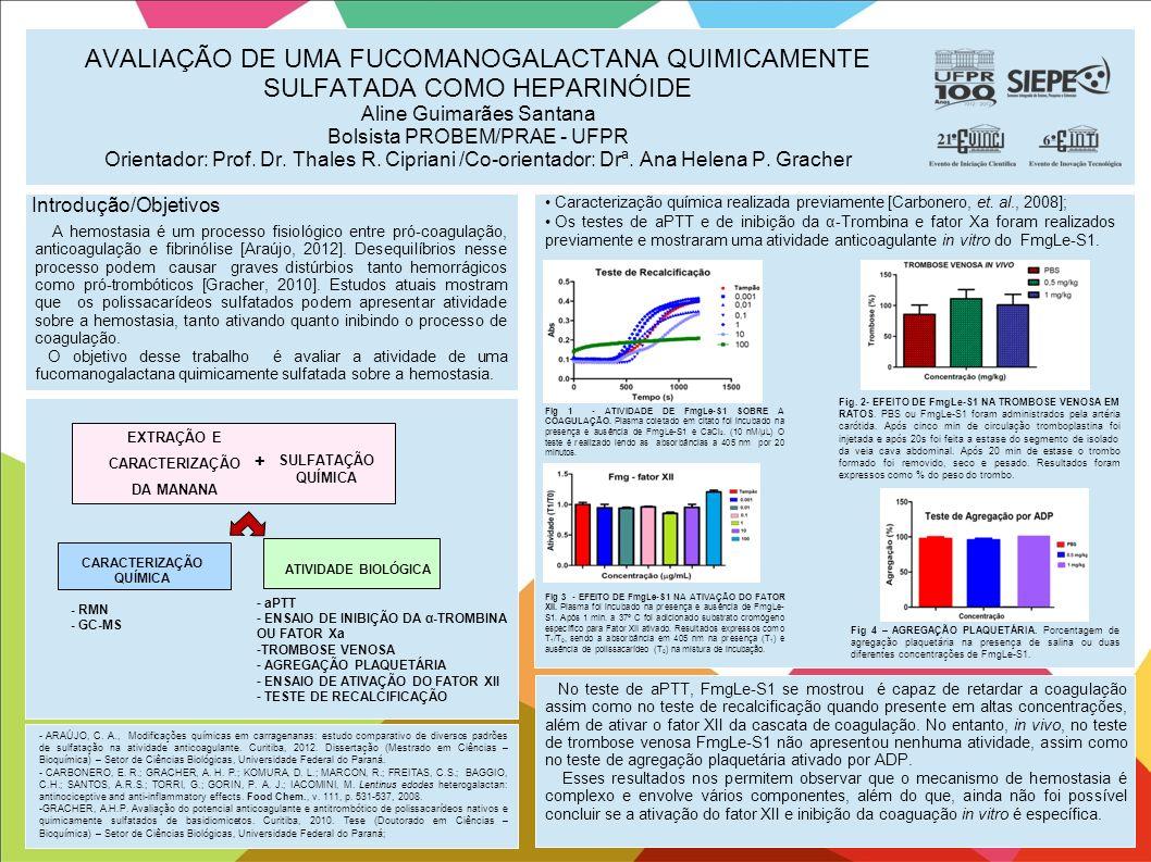AVALIAÇÃO DE UMA FUCOMANOGALACTANA QUIMICAMENTE SULFATADA COMO HEPARINÓIDE Aline Guimarães Santana Bolsista PROBEM/PRAE - UFPR Orientador: Prof. Dr. T