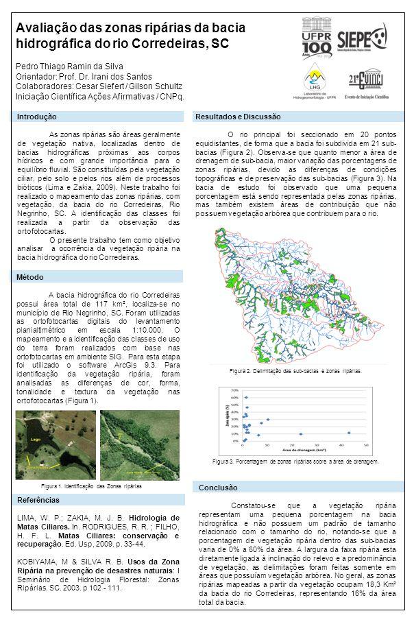 Avaliação das zonas ripárias da bacia hidrográfica do rio Corredeiras, SC Pedro Thiago Ramin da Silva Orientador: Prof. Dr. Irani dos Santos Colaborad