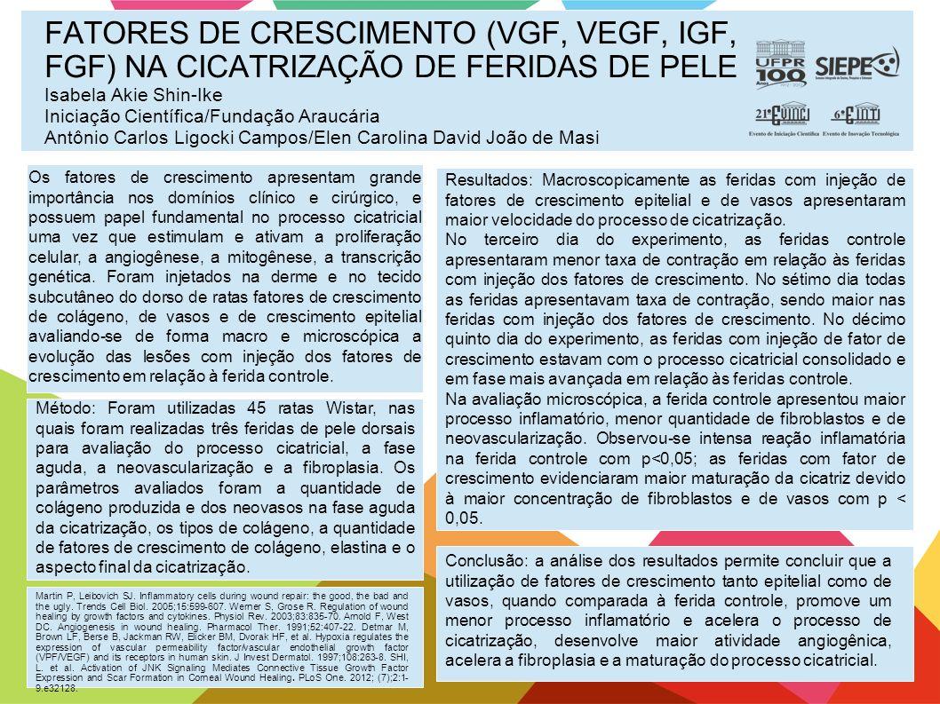 FATORES DE CRESCIMENTO (VGF, VEGF, IGF, FGF) NA CICATRIZAÇÃO DE FERIDAS DE PELE Isabela Akie Shin-Ike Iniciação Científica/Fundação Araucária Antônio