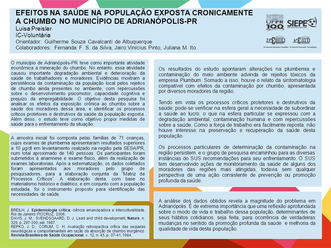 EFEITOS NA SAÚDE NA POPULAÇÃO EXPOSTA CRONICAMENTE A CHUMBO NO MUNICÍPIO DE ADRIANÓPOLIS-PR Luisa Preisler IC-Voluntária Orientador: Guilherme Souza C