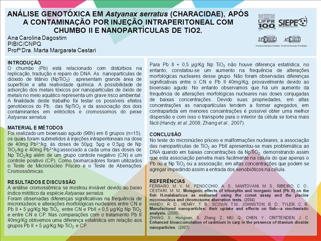 ANÁLISE GENOTÓXICA EM Astyanax serratus (CHARACIDAE), APÓS A CONTAMINAÇÃO POR INJEÇÃO INTRAPERITONEAL COM CHUMBO II E NANOPARTÍCULAS DE TiO2.