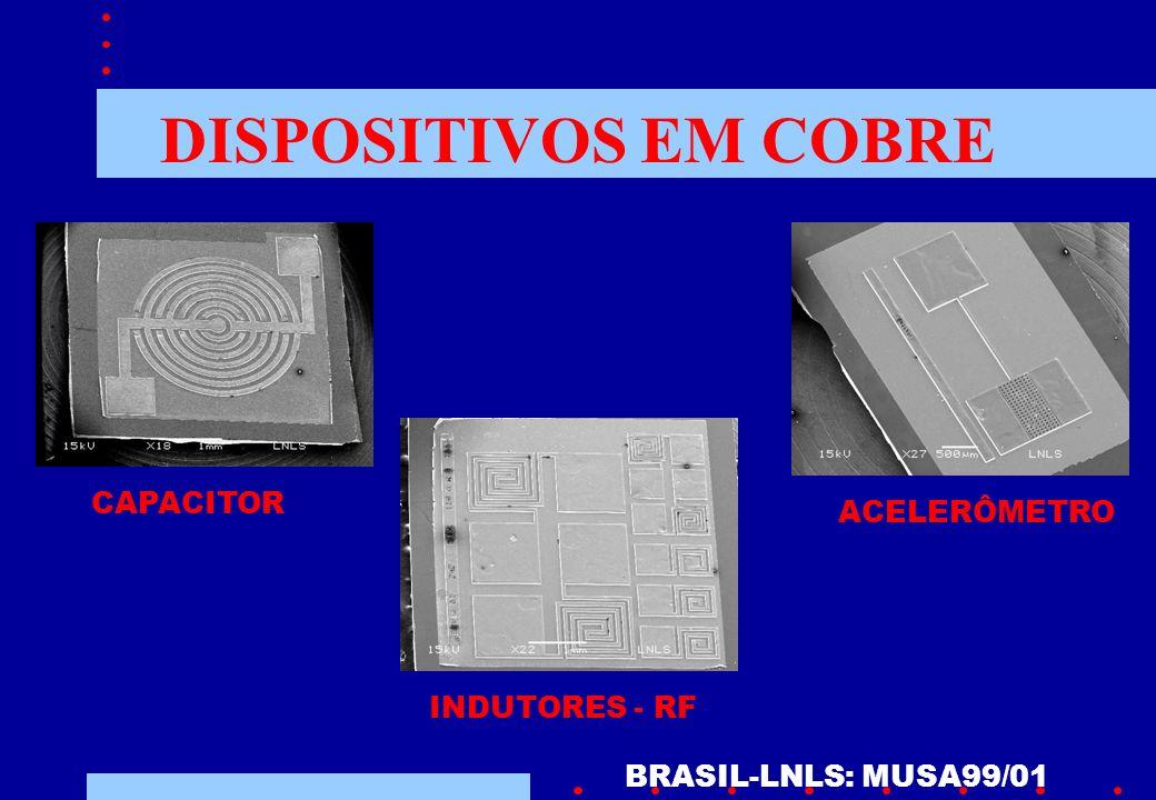 DISPOSITIVOS EM COBRE BRASIL-LNLS: MUSA99/01 ACELERÔMETRO CAPACITOR INDUTORES - RF