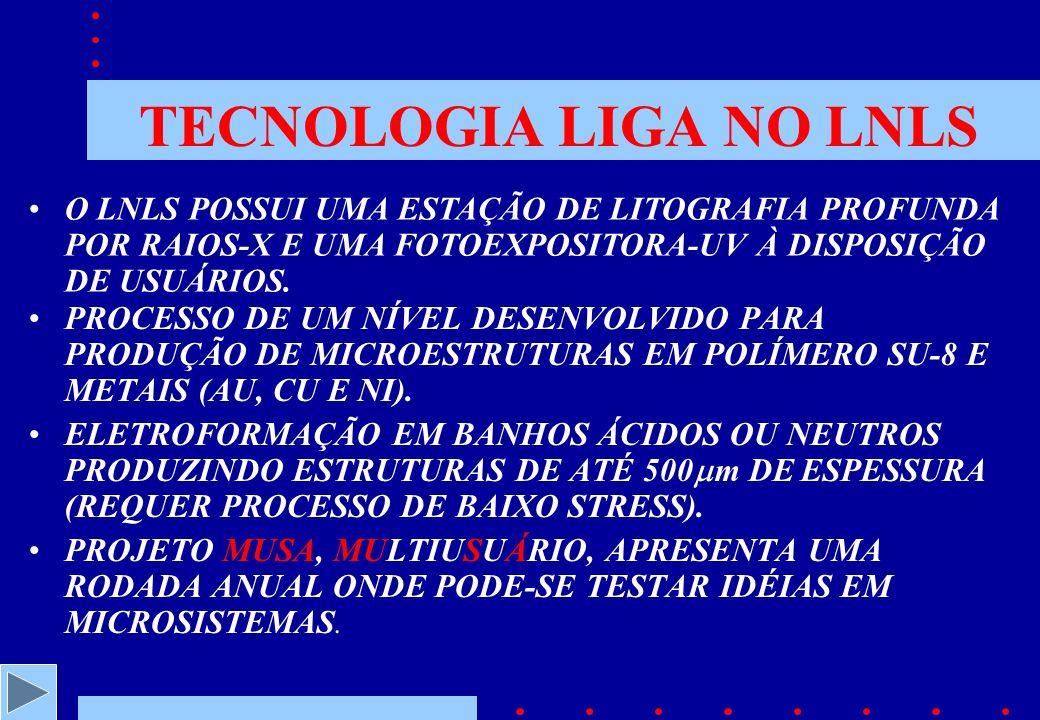 TECNOLOGIA LIGA NO LNLS PROCESSO DE UM NÍVEL DESENVOLVIDO PARA PRODUÇÃO DE MICROESTRUTURAS EM POLÍMERO SU-8 E METAIS (AU, CU E NI).