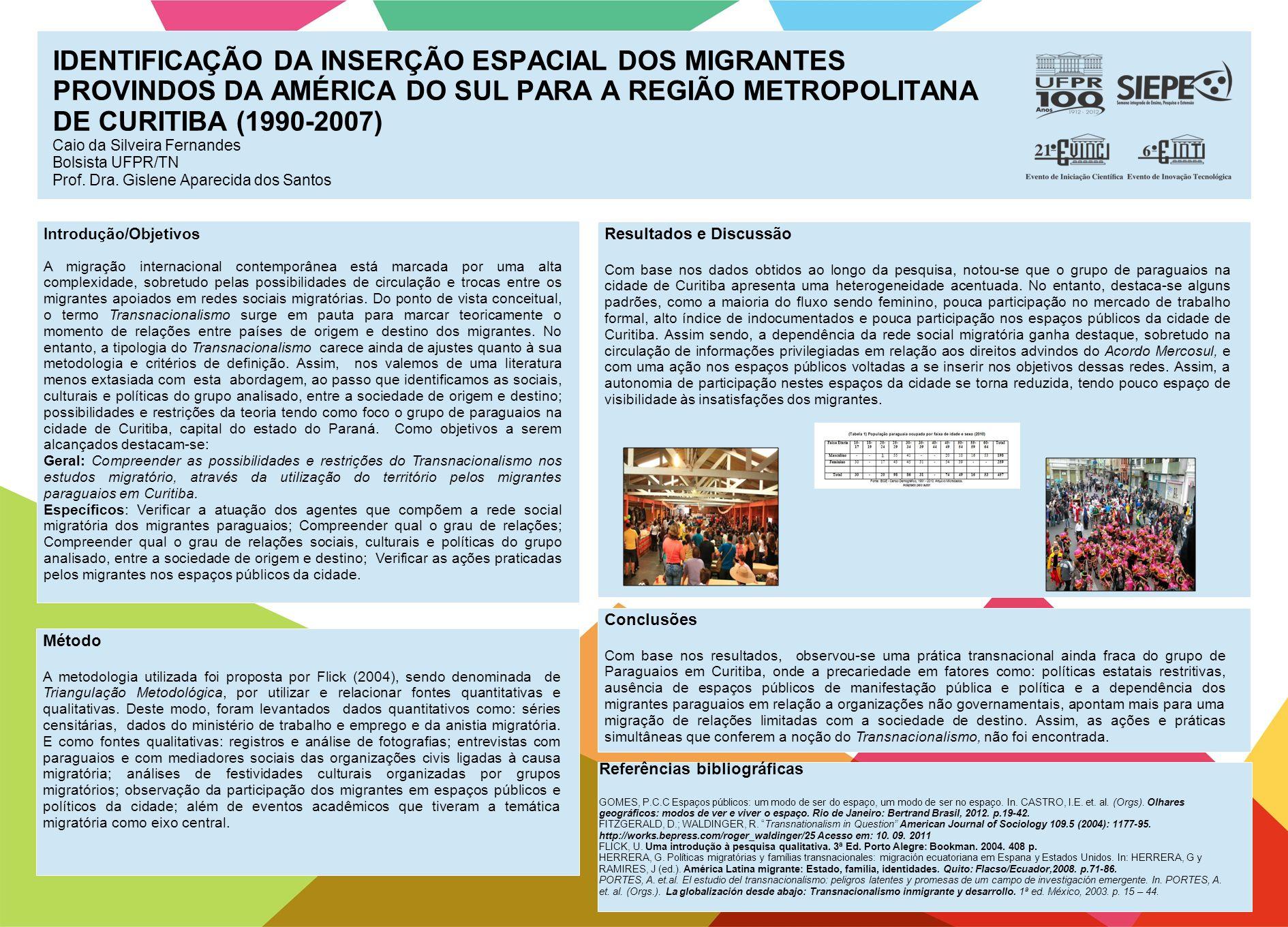 IDENTIFICAÇÃO DA INSERÇÃO ESPACIAL DOS MIGRANTES PROVINDOS DA AMÉRICA DO SUL PARA A REGIÃO METROPOLITANA DE CURITIBA (1990-2007) Caio da Silveira Fernandes Bolsista UFPR/TN Prof.