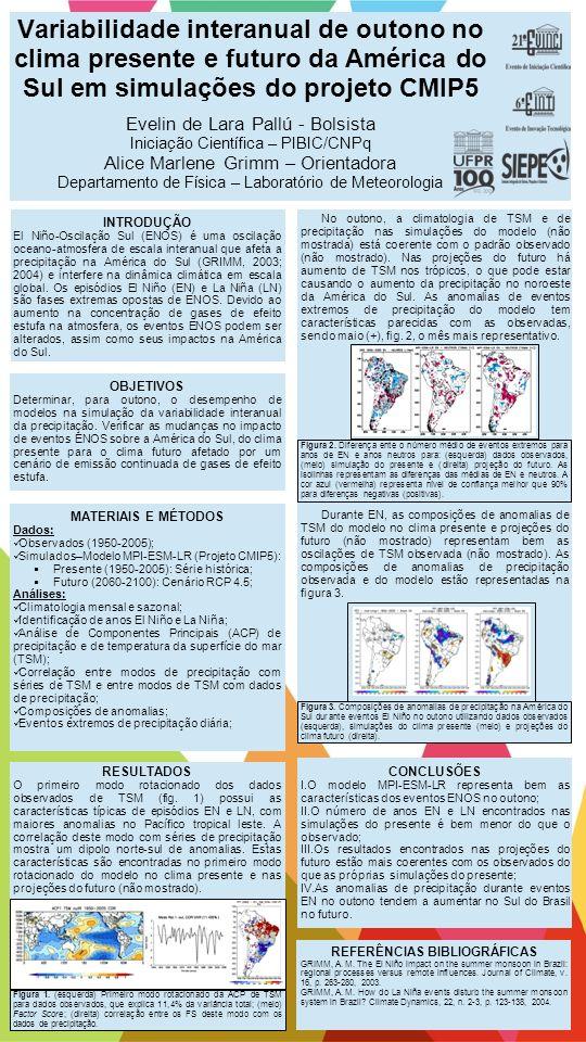 Variabilidade interanual de outono no clima presente e futuro da América do Sul em simulações do projeto CMIP5 Evelin de Lara Pallú - Bolsista Iniciaç