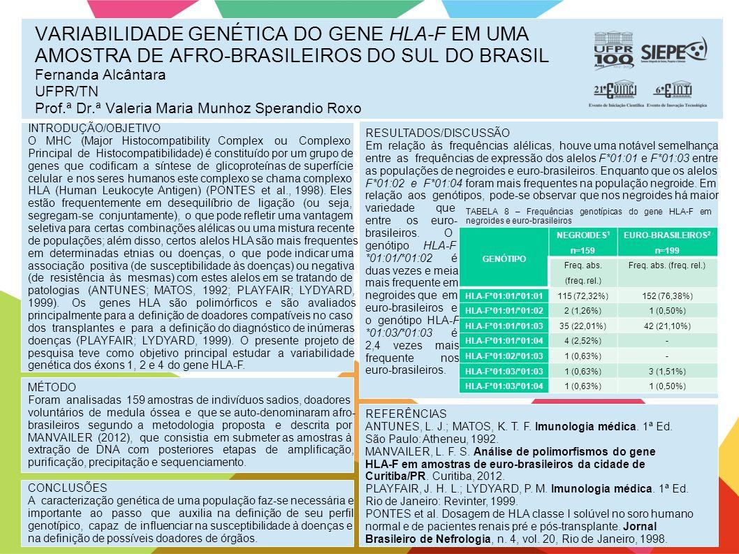 VARIABILIDADE GENÉTICA DO GENE HLA-F EM UMA AMOSTRA DE AFRO-BRASILEIROS DO SUL DO BRASIL Fernanda Alcântara UFPR/TN Prof.ª Dr.ª Valeria Maria Munhoz Sperandio Roxo INTRODUÇÃO/OBJETIVO O MHC (Major Histocompatibility Complex ou Complexo Principal de Histocompatibilidade) é constituído por um grupo de genes que codificam a síntese de glicoproteínas de superfície celular e nos seres humanos este complexo se chama complexo HLA (Human Leukocyte Antigen) (PONTES et al., 1998).