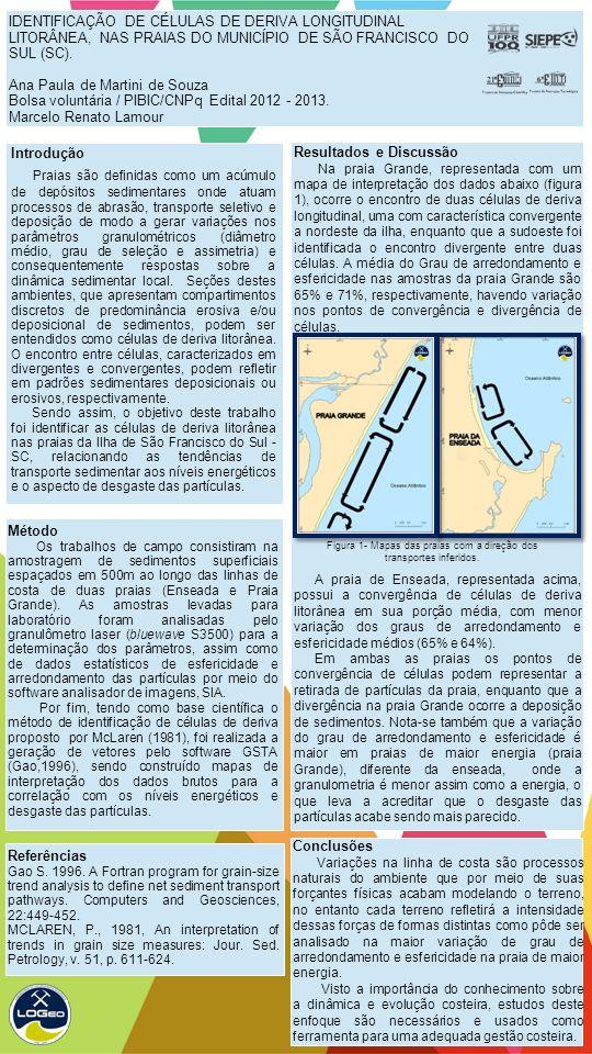 IDENTIFICAÇÃO DE CÉLULAS DE DERIVA LONGITUDINAL LITORÂNEA, NAS PRAIAS DO MUNICÍPIO DE SÃO FRANCISCO DO SUL (SC).