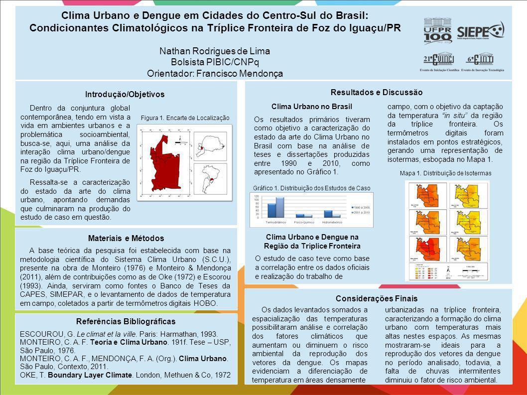 Clima Urbano e Dengue em Cidades do Centro-Sul do Brasil: Condicionantes Climatológicos na Tríplice Fronteira de Foz do Iguaçu/PR Nathan Rodrigues de