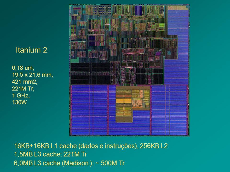Itanium 2 1,5MB L3 cache: 221M Tr 6,0MB L3 cache (Madison ): ~ 500M Tr 16KB+16KB L1 cache (dados e instruções), 256KB L2 0,18 um, 19,5 x 21,6 mm, 421