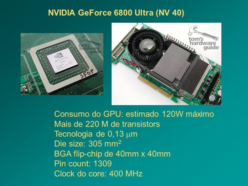 Consumo do GPU: estimado 120W máximo Mais de 220 M de transistors Tecnologia de 0,13 m Die size: 305 mm 2 BGA flip-chip de 40mm x 40mm Pin count: 1309
