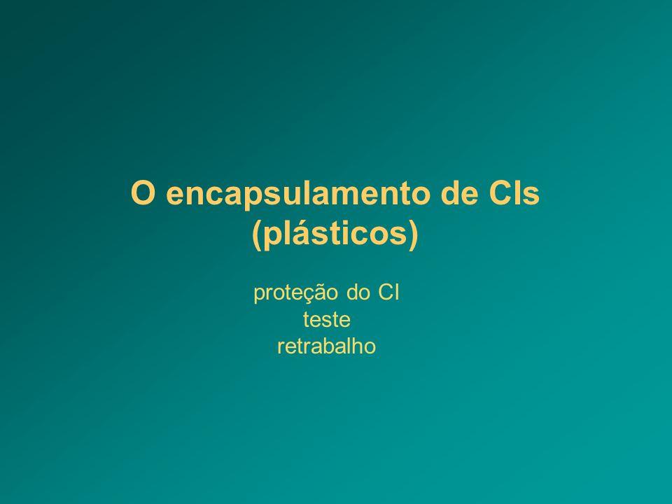 O encapsulamento de CIs (plásticos) proteção do CI teste retrabalho
