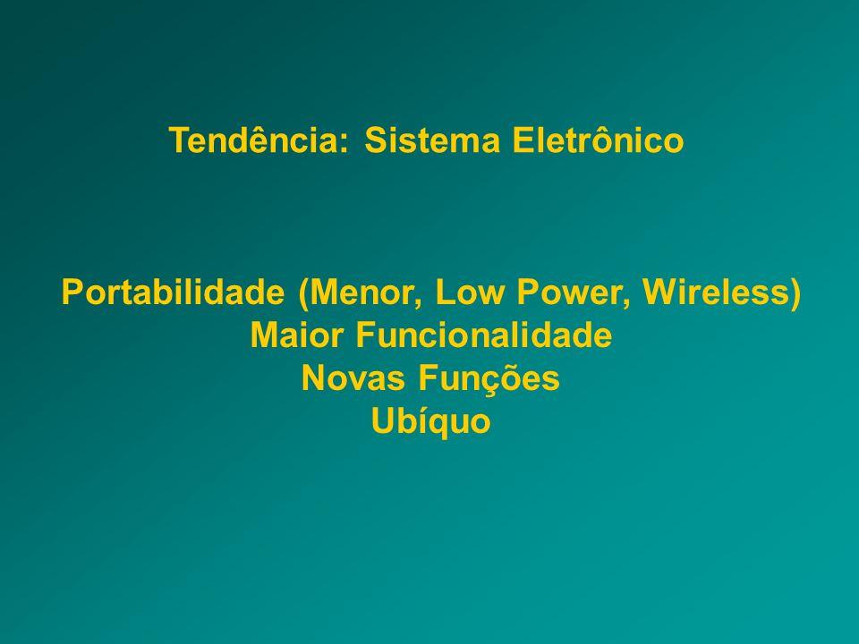 Tendência: Sistema Eletrônico Portabilidade (Menor, Low Power, Wireless) Maior Funcionalidade Novas Funções Ubíquo