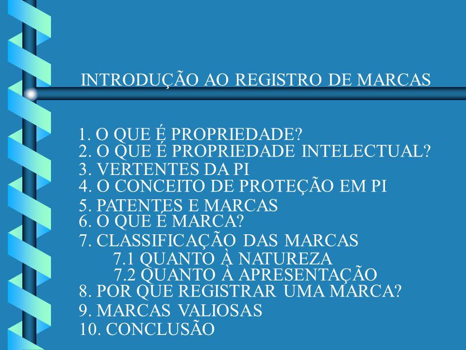 INTRODUÇÃO AO REGISTRO DE MARCAS 1. O QUE É PROPRIEDADE? 2. O QUE É PROPRIEDADE INTELECTUAL? 3. VERTENTES DA PI 4. O CONCEITO DE PROTEÇÃO EM PI 5. PAT