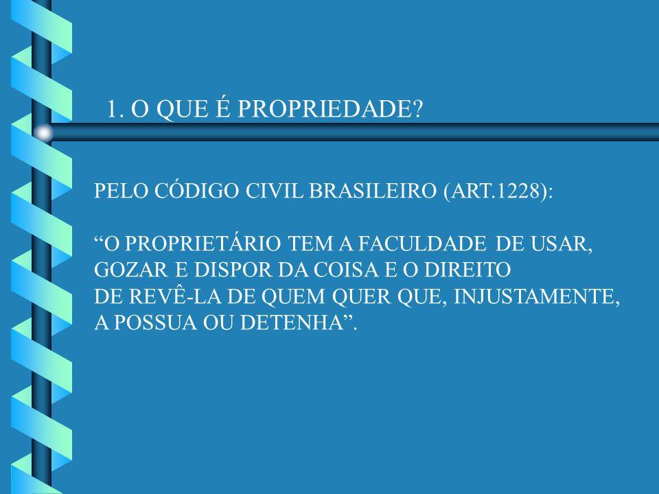 1. O QUE É PROPRIEDADE? PELO CÓDIGO CIVIL BRASILEIRO (ART.1228): O PROPRIETÁRIO TEM A FACULDADE DE USAR, GOZAR E DISPOR DA COISA E O DIREITO DE REVÊ-L