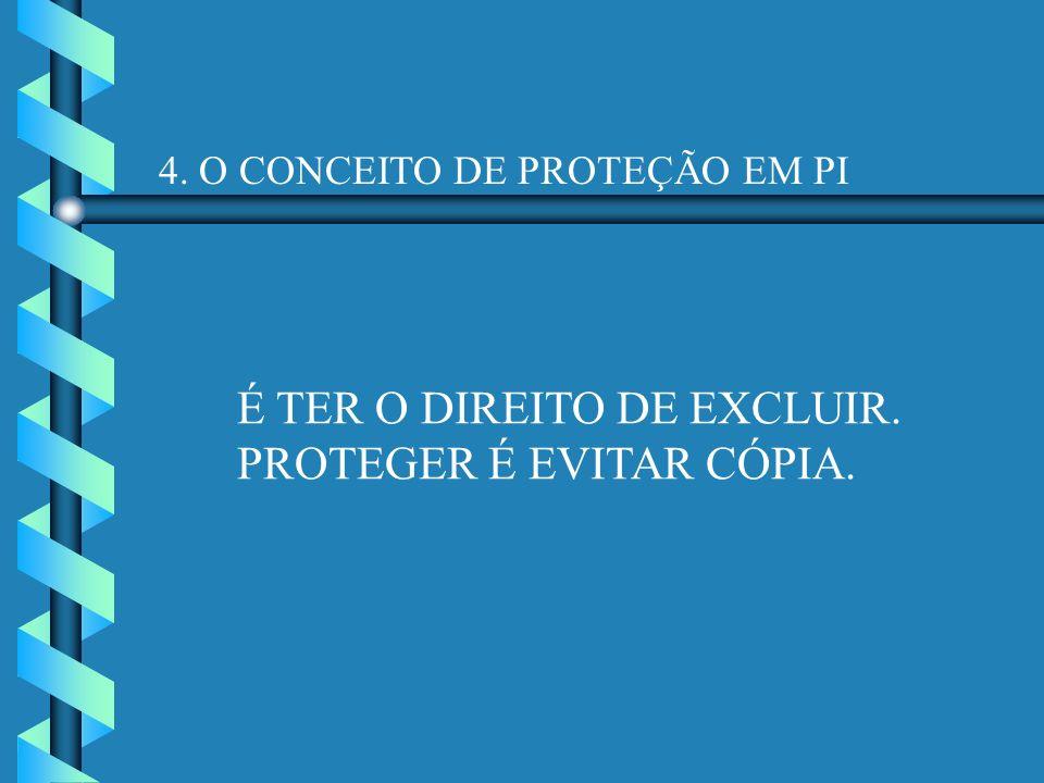 4. O CONCEITO DE PROTEÇÃO EM PI É TER O DIREITO DE EXCLUIR. PROTEGER É EVITAR CÓPIA.