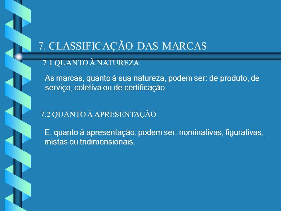 7. CLASSIFICAÇÃO DAS MARCAS 7.1 QUANTO À NATUREZA As marcas, quanto à sua natureza, podem ser: de produto, de serviço, coletiva ou de certificação. 7.