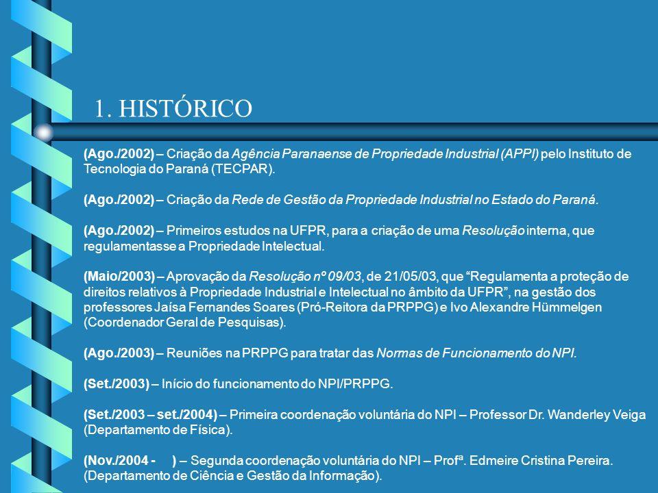 1. HISTÓRICO (Ago./2002) – Criação da Agência Paranaense de Propriedade Industrial (APPI) pelo Instituto de Tecnologia do Paraná (TECPAR). (Ago./2002)