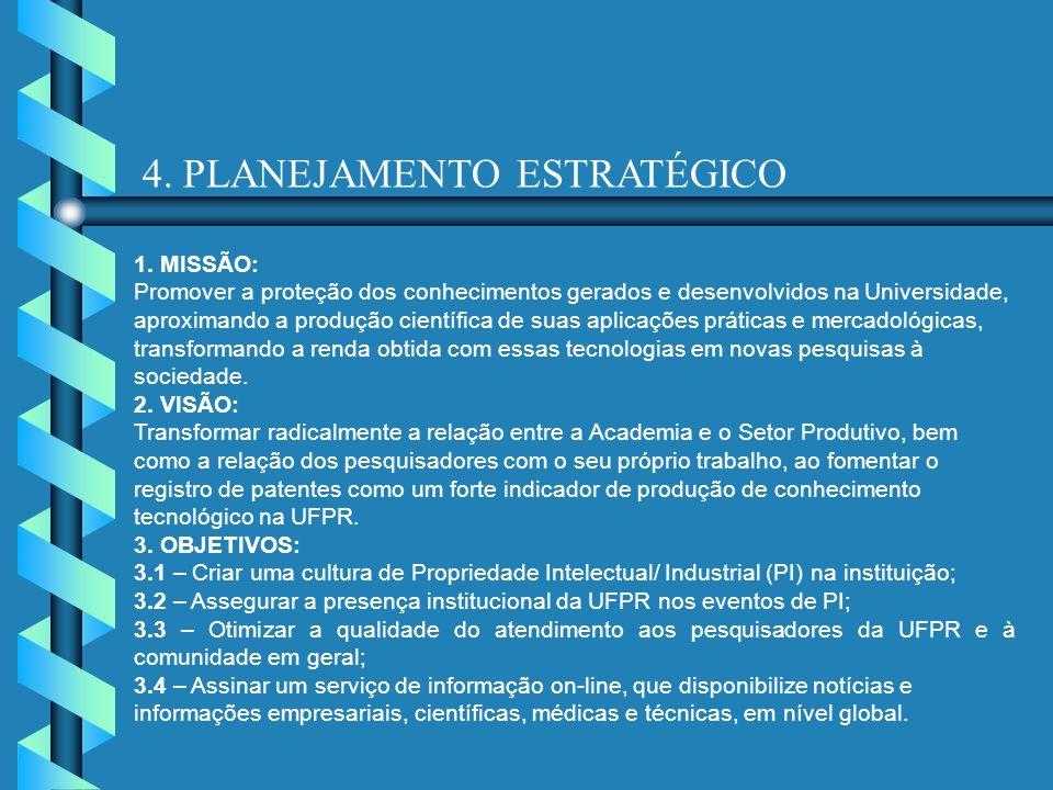 4. PLANEJAMENTO ESTRATÉGICO 1. MISSÃO: Promover a proteção dos conhecimentos gerados e desenvolvidos na Universidade, aproximando a produção científic