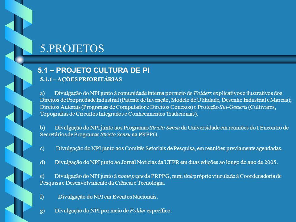 5.PROJETOS 5.1 – PROJETO CULTURA DE PI 5.1.1 – AÇÕES PRIORITÁRIAS a) Divulgação do NPI junto à comunidade interna por meio de Folders explicativos e i
