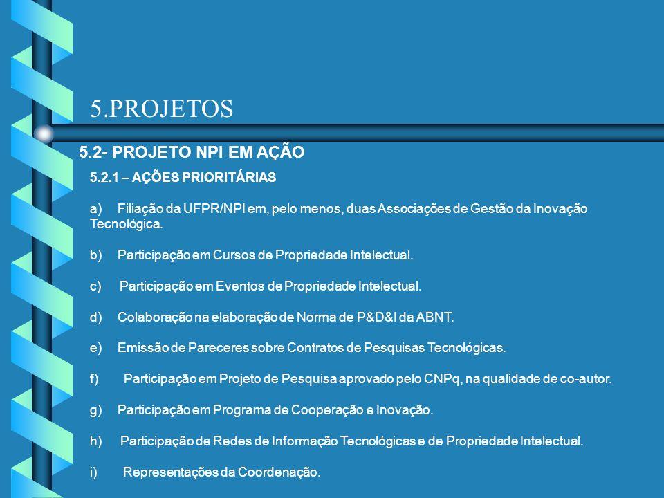 5.PROJETOS 5.2- PROJETO NPI EM AÇÃO 5.2.1 – AÇÕES PRIORITÁRIAS a) Filiação da UFPR/NPI em, pelo menos, duas Associações de Gestão da Inovação Tecnológ