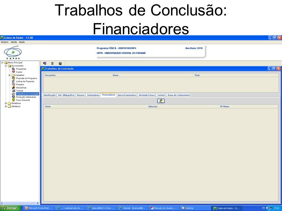 Trabalhos de Conclusão: Financiadores