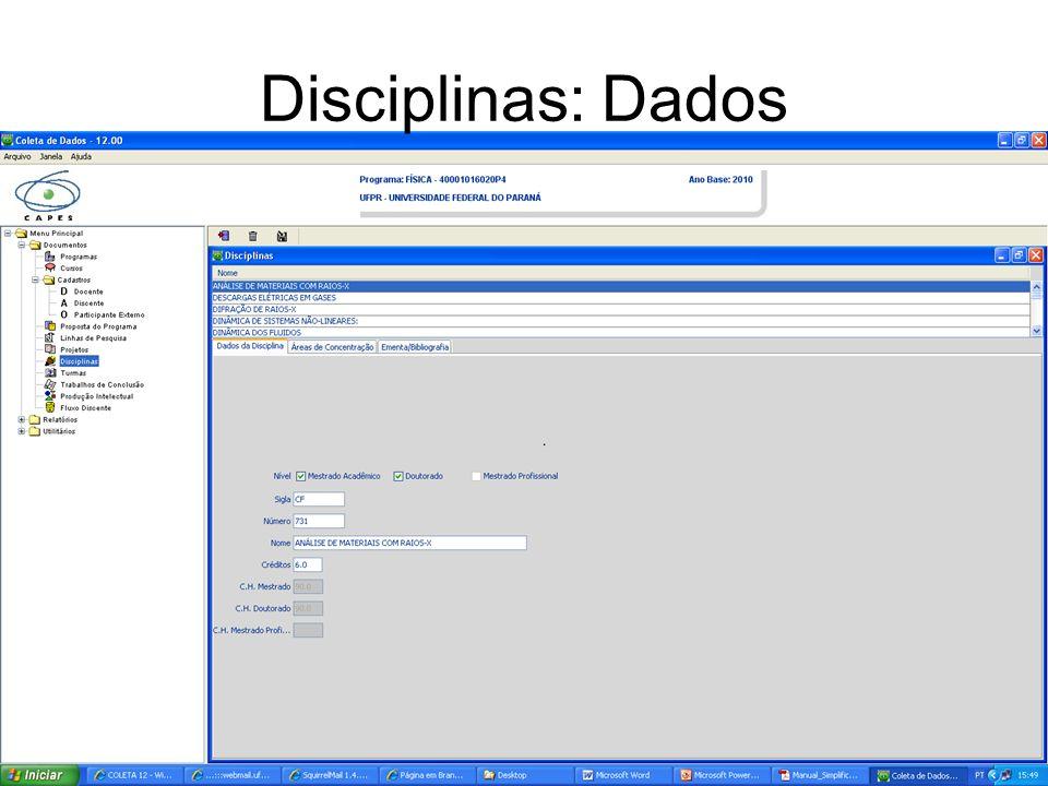 Disciplinas: Dados