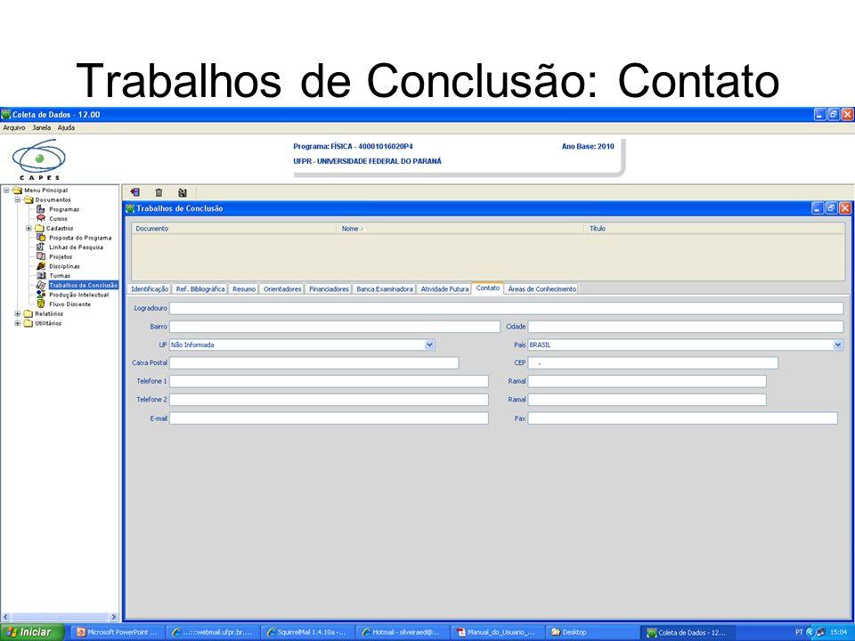 Trabalhos de Conclusão: Contato