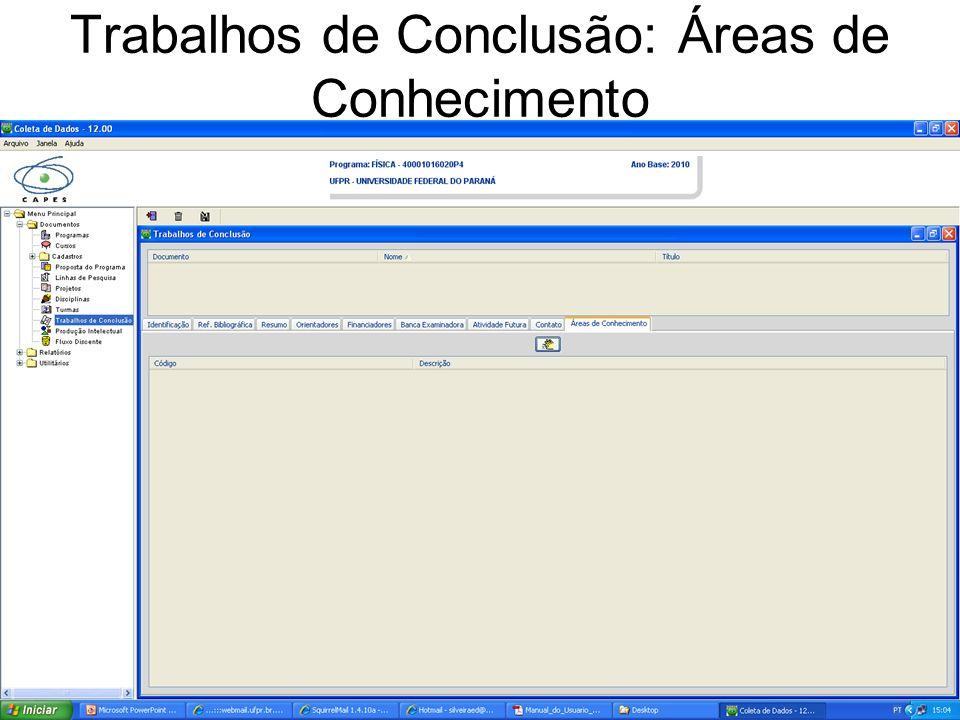 Trabalhos de Conclusão: Áreas de Conhecimento