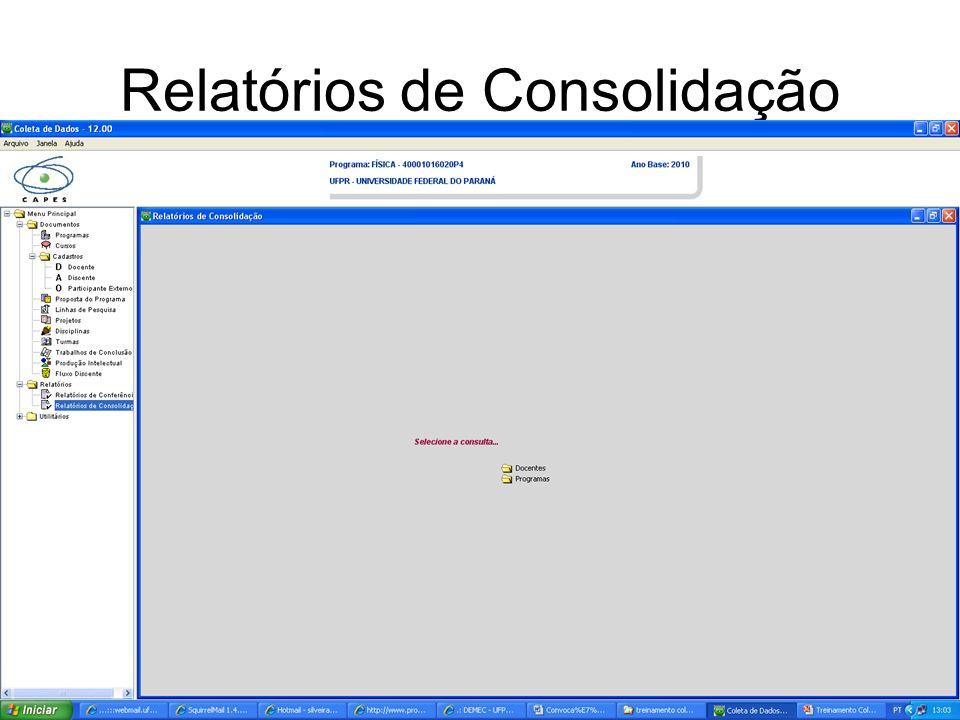 Relatórios de Consolidação