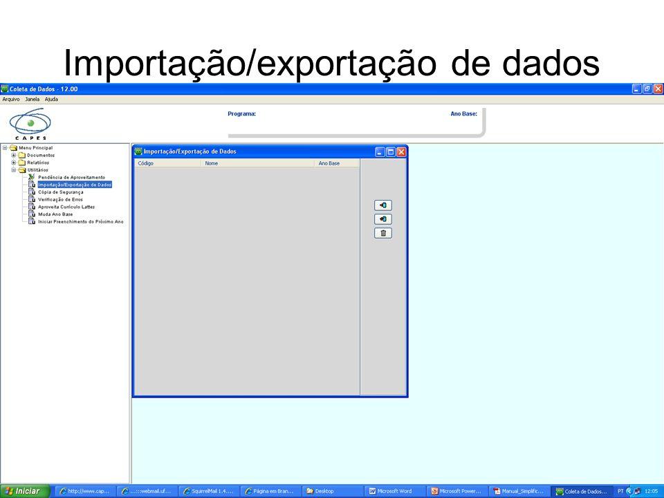 Importação/exportação de dados