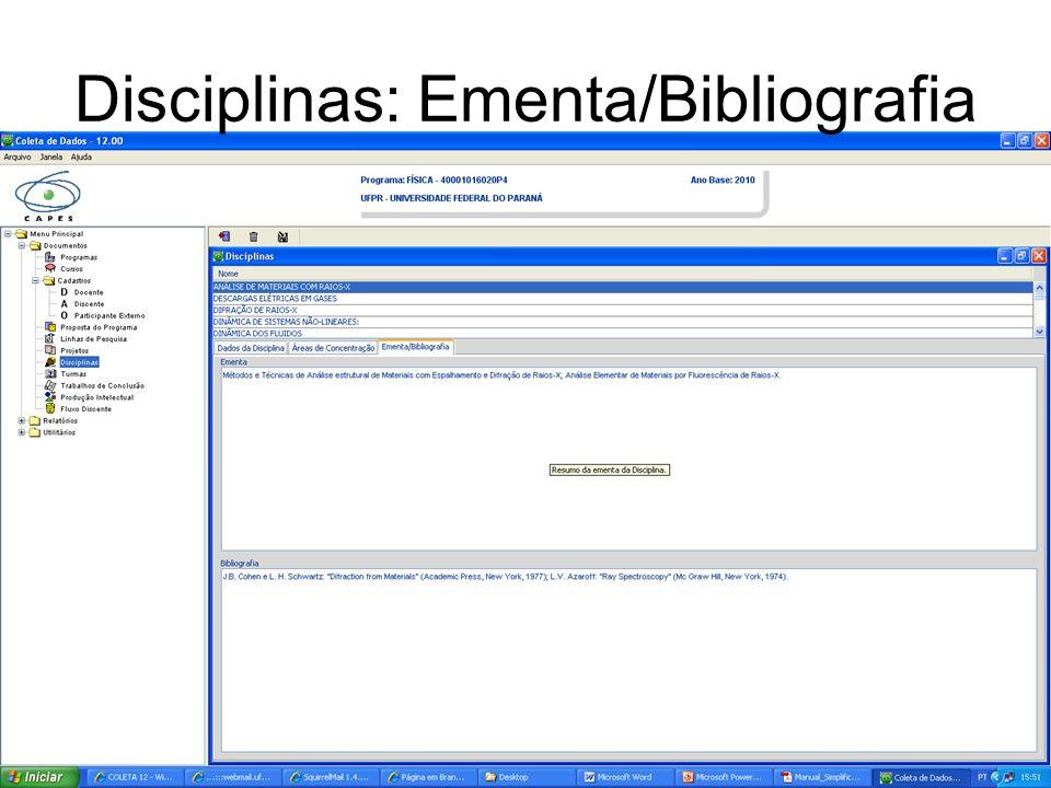 Disciplinas: Ementa/Bibliografia