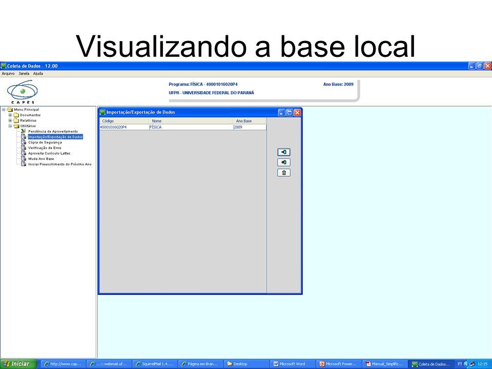 Visualizando a base local