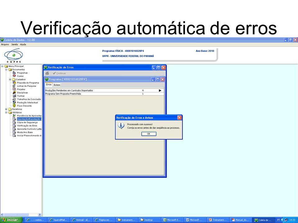 Verificação automática de erros