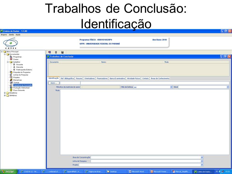 Trabalhos de Conclusão: Identificação