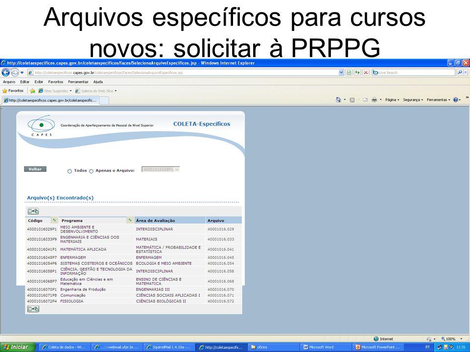 Arquivos específicos para cursos novos: solicitar à PRPPG
