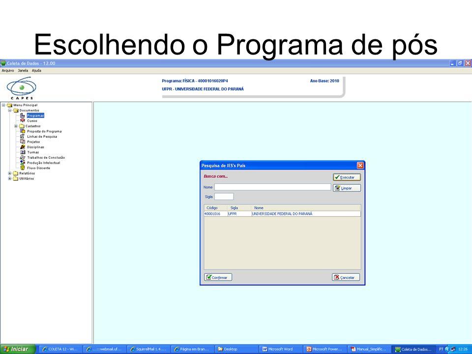 Dados do Programa
