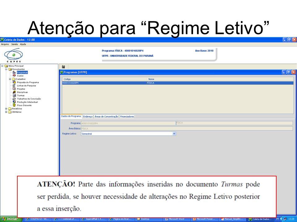 Atenção para Regime Letivo