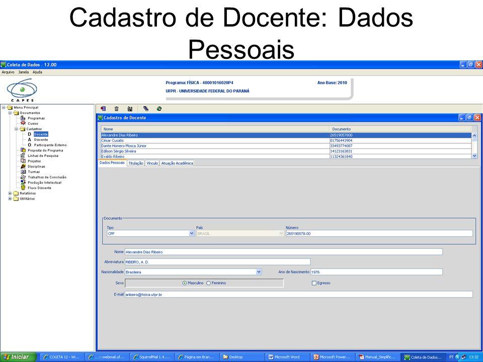 Cadastro de Docente: Dados Pessoais