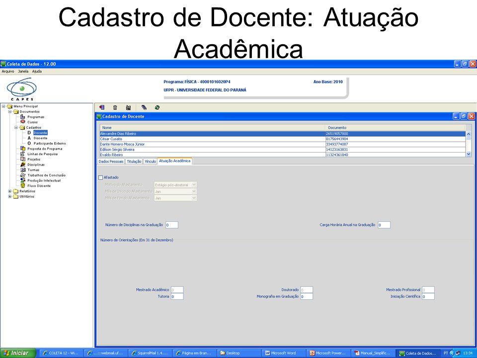 Cadastro de Docente: Atuação Acadêmica