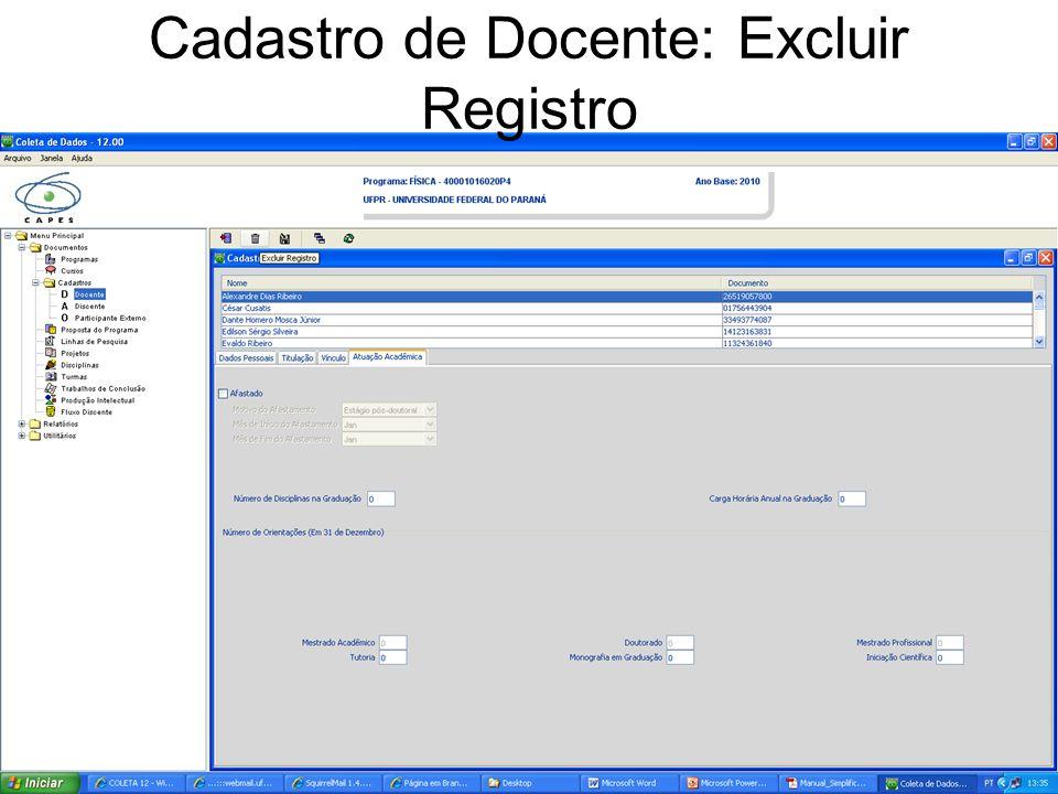 Cadastro de Docente: Excluir Registro