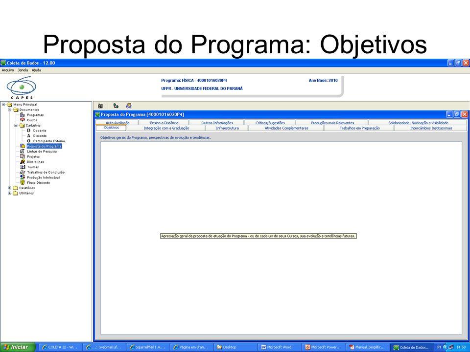 Proposta do Programa: Objetivos