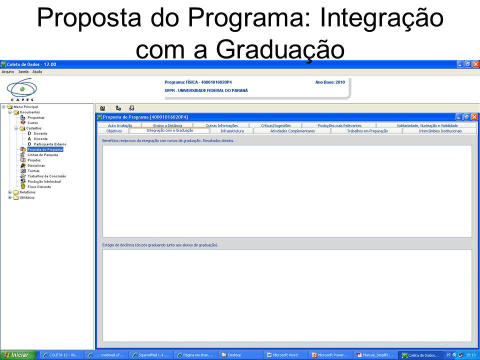 Proposta do Programa: Integração com a Graduação