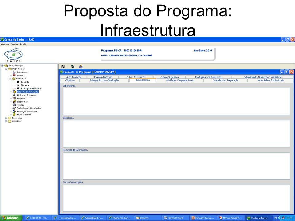 Proposta do Programa: Infraestrutura