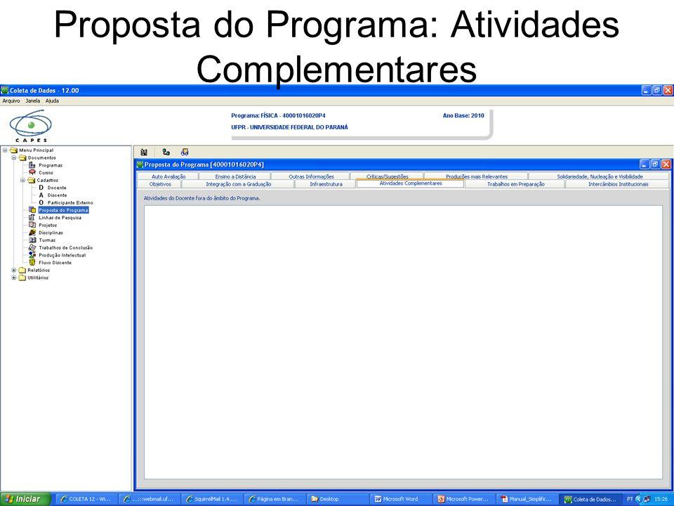 Proposta do Programa: Atividades Complementares