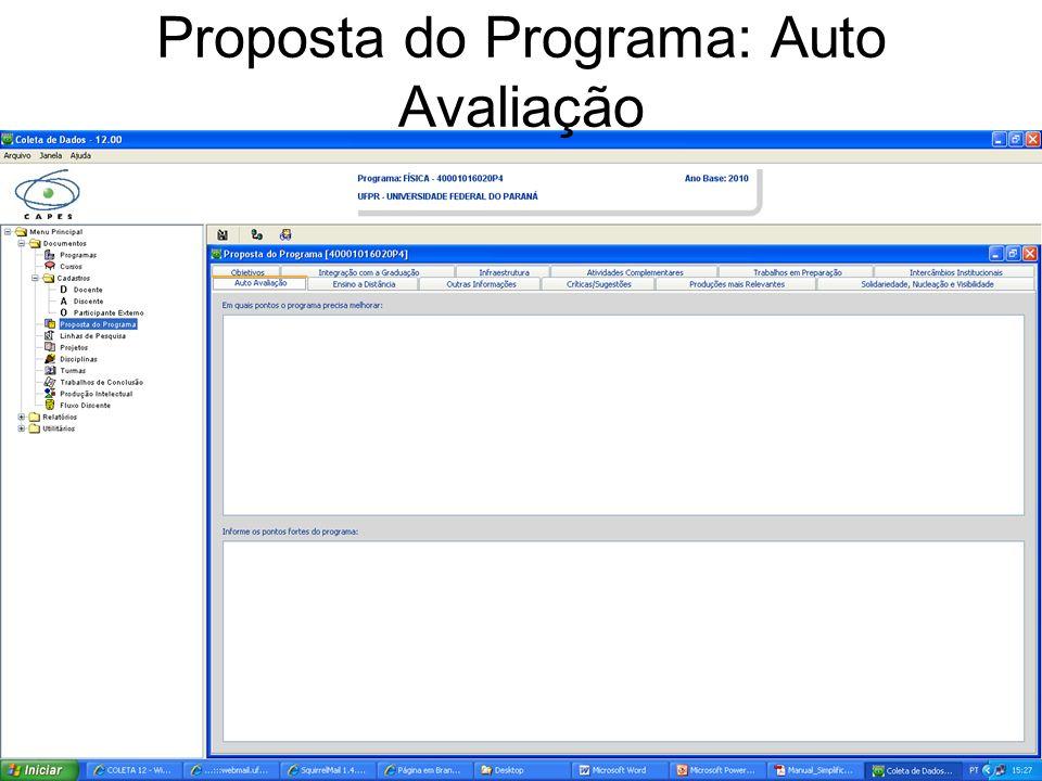 Proposta do Programa: Auto Avaliação