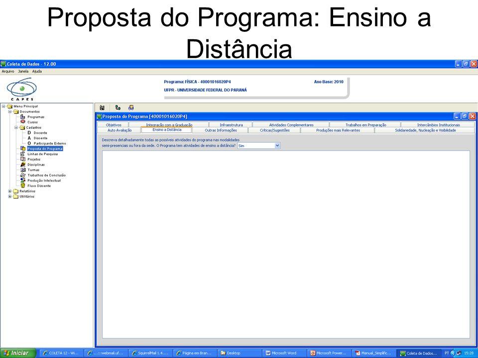 Proposta do Programa: Ensino a Distância