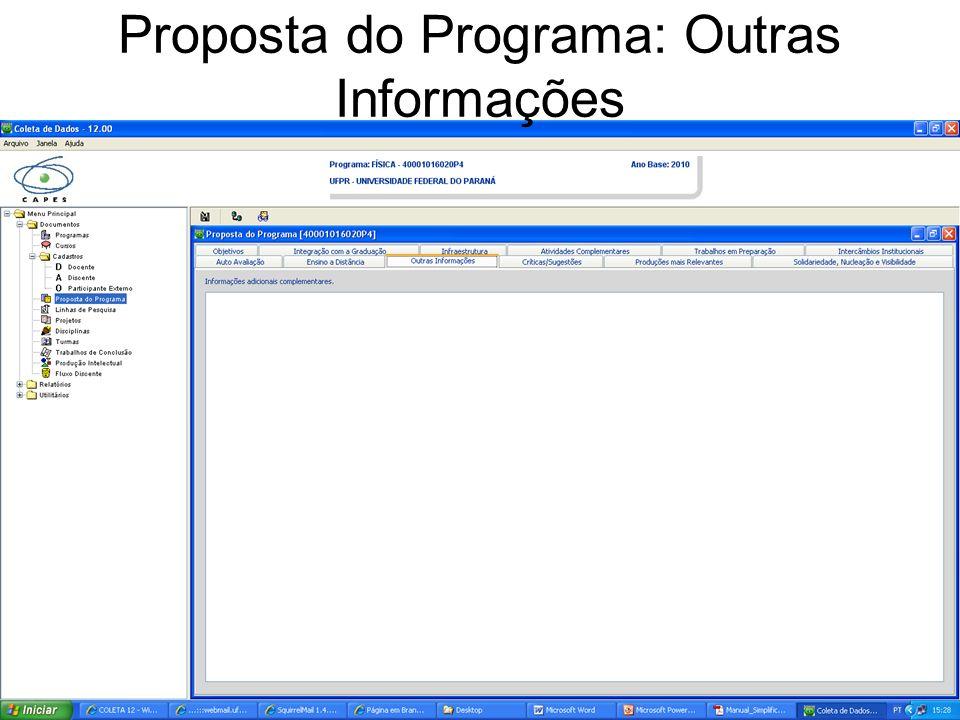 Proposta do Programa: Outras Informações