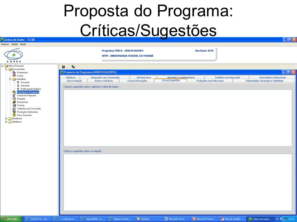 Proposta do Programa: Críticas/Sugestões